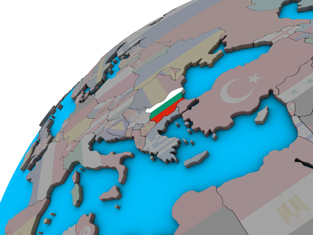 Bulgaria with national flag on 3D globe. 3D illustration.