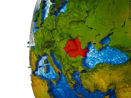 Romania highlighted on 3D Earth with visible countries and watery oceans. 3D illustration. Imagens