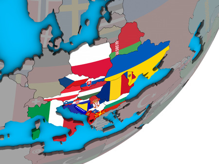 CEI countries with national flags on blue political 3D globe. 3D illustration.