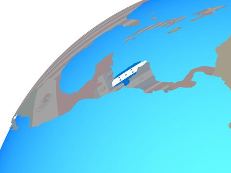 Honduras with embedded national flag on globe. 3D illustration. Stock Photo