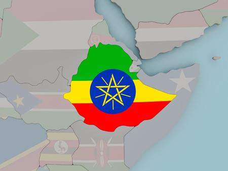 Ethiopia with national flag on political globe. 3D illustration.