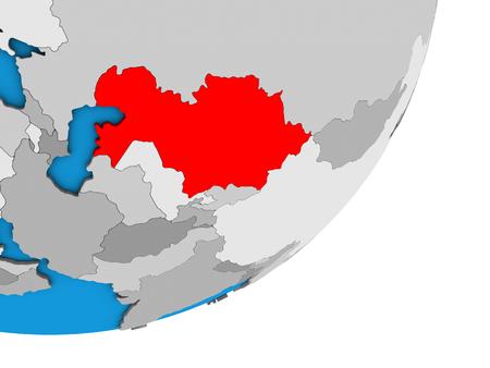 Kazakhstan on blue political 3D globe. 3D illustration.