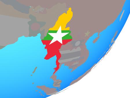 Myanmar with embedded national flag on blue political globe. 3D illustration.