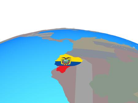 Ecuador with national flag on political globe. 3D illustration.