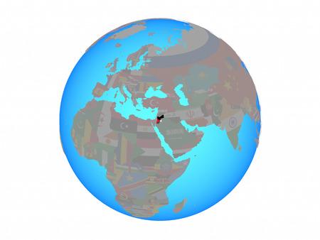 Jordan with national flag on blue political globe. 3D illustration isolated on white background.