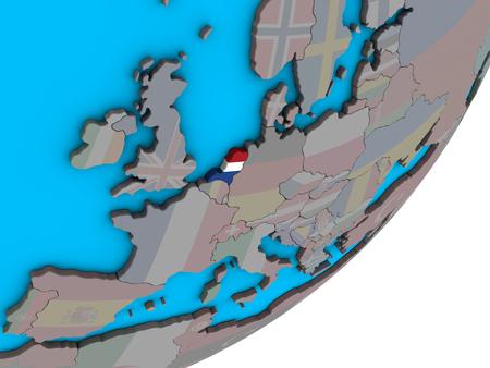 Netherlands with national flag on blue political 3D globe. 3D illustration.