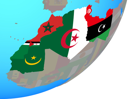 Maghreb region with embedded national flags on blue political globe. 3D illustration.