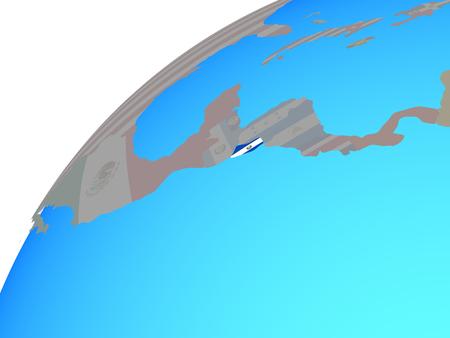 El Salvador with embedded national flag on globe. 3D illustration.