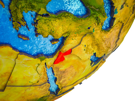 Jordan on 3D model of Earth with water and divided countries. 3D illustration.