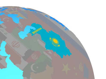 Kazakhstan with national flag on simple blue political globe. 3D illustration. 스톡 콘텐츠