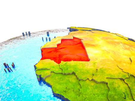 Mauritania on 3D Earth with visible countries and blue oceans with waves. 3D illustration. Stock Photo