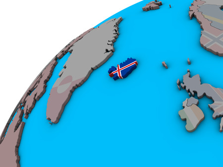 Iceland with national flag on 3D globe. 3D illustration. Stock Photo