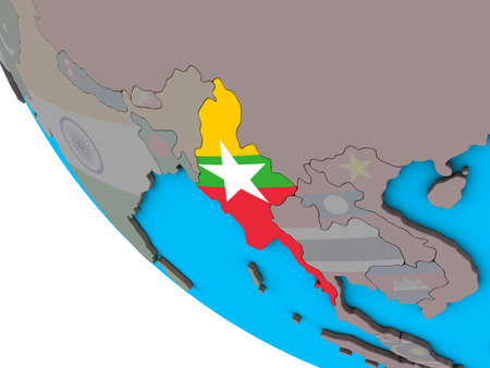 Myanmar with embedded national flag on simple 3D globe. 3D illustration. Stock Photo