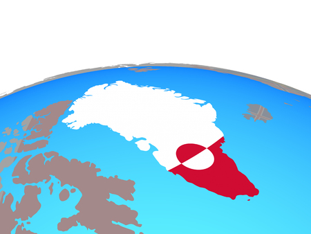 Greenland with national flag on political globe. 3D illustration.