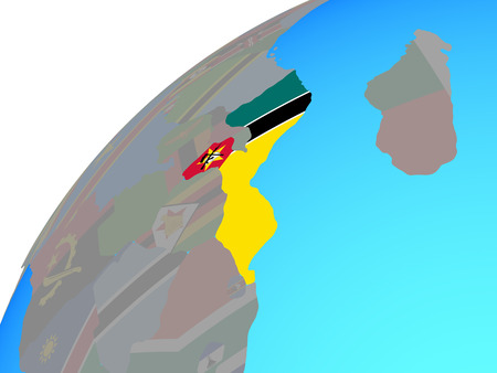 Mozambique with embedded national flag on globe. 3D illustration. Standard-Bild - 109751196