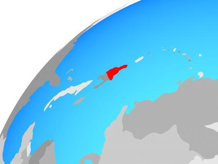 Dominican Republic on globe. 3D illustration.