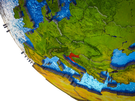 Croatia on model of Earth with country borders and blue oceans with waves. 3D illustration.