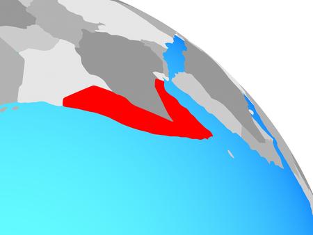 Somalia on simple blue political globe. 3D illustration.