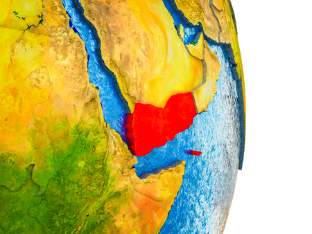 Yemen on 3D model of Earth with divided countries and blue oceans. 3D illustration. Stock Photo
