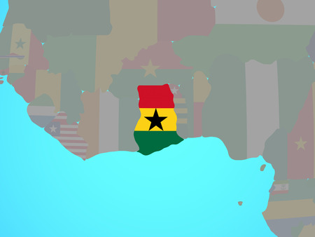 Ghana with national flag on blue political globe. 3D illustration.