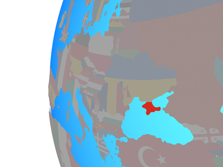 Crimea with embedded national flag on blue political globe. 3D illustration.