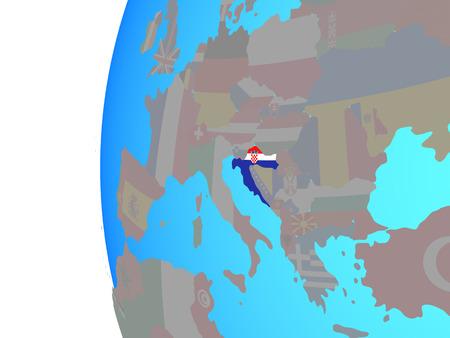Croatia with embedded national flag on blue political globe. 3D illustration.