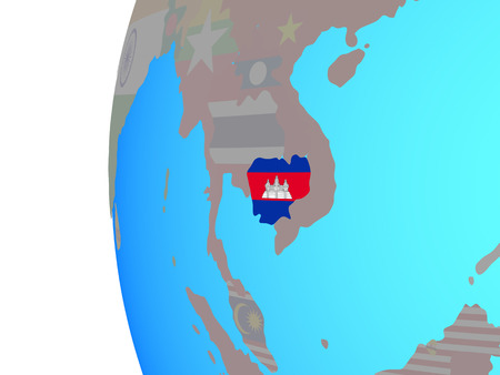 Cambodia with embedded national flag on blue political globe. 3D illustration.