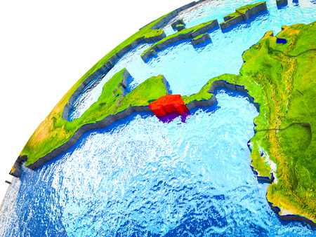 Costa Rica on 3D Earth model with visible country borders. 3D illustration.