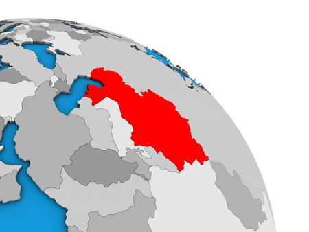 Kazakhstan on simple blue political 3D globe. 3D illustration.