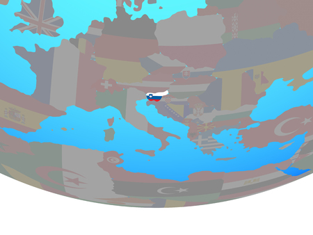 Slovenia with national flag on simple political globe. 3D illustration.