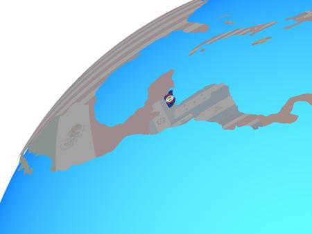 Belize with embedded national flag on globe. 3D illustration.