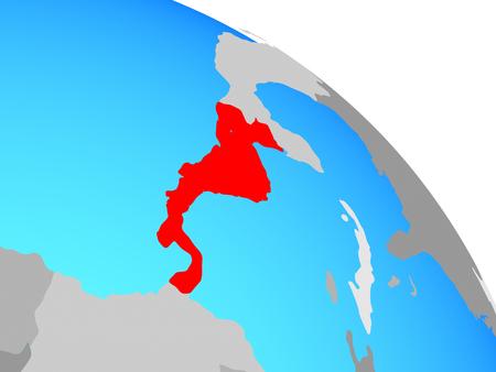 Central America on simple blue political globe. 3D illustration. 版權商用圖片
