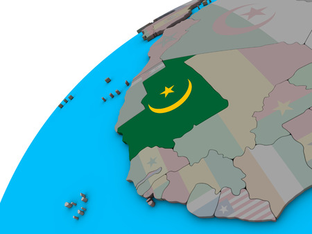 Mauritania with national flag on 3D globe. 3D illustration. Stock Photo