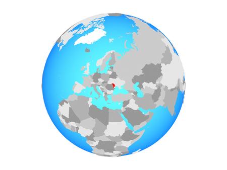 Moldova on blue political globe. 3D illustration isolated on white background.