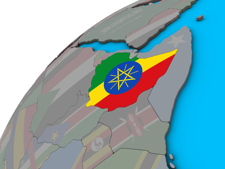 Ethiopia with national flag on 3D globe. 3D illustration.