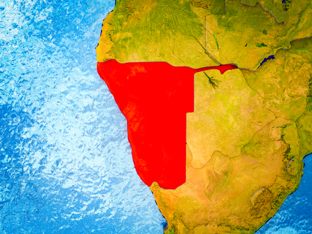 Namibia on model of 3D Earth with blue oceans and divided countries. 3D illustration.