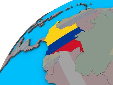 Colombia with national flag on 3D globe. 3D illustration. Reklamní fotografie