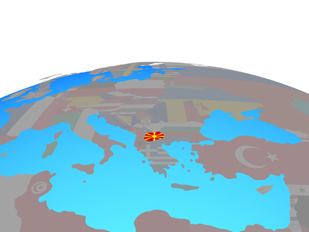 Macedonia with national flag on political globe. 3D illustration.