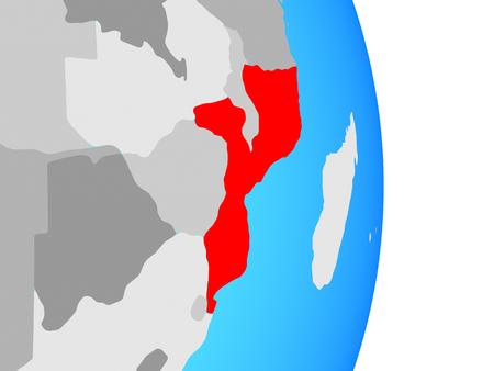 Mozambique on simple political globe. 3D illustration. Standard-Bild - 109748448