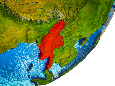 Myanmar on 3D model of Earth with water and divided countries. 3D illustration. Imagens