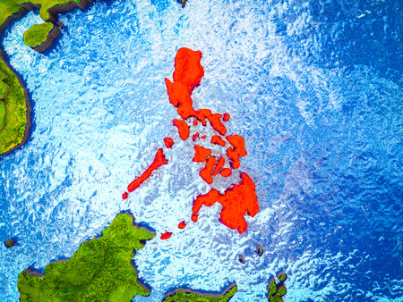 Philippines on model of 3D Earth with blue oceans and divided countries. 3D illustration.