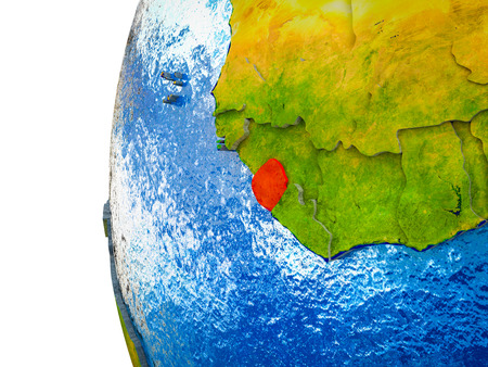 Sierra Leone highlighted on 3D Earth with visible countries and watery oceans. 3D illustration. 스톡 콘텐츠