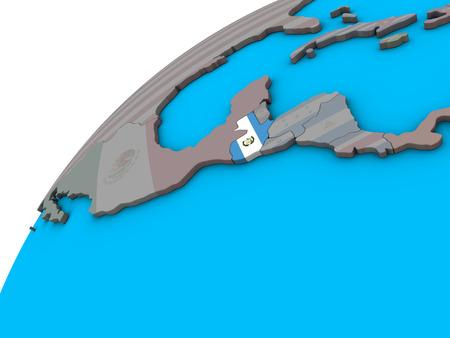 Guatemala with national flag on 3D globe. 3D illustration. Stock Photo