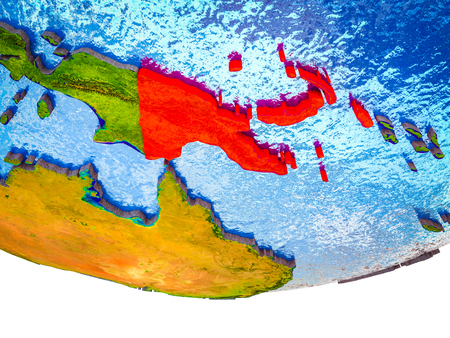 Papua New Guinea on 3D Earth with divided countries and watery oceans. 3D illustration.