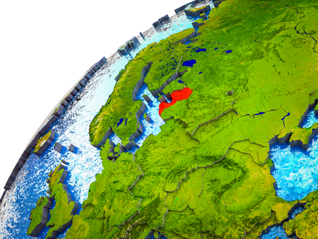 Latvia on 3D Earth model with visible country borders. 3D illustration.