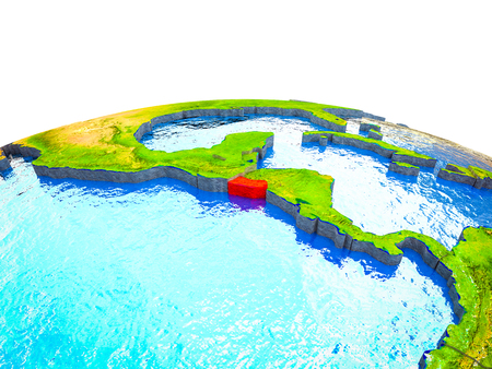 El Salvador on 3D Earth with visible countries and blue oceans with waves. 3D illustration. Banco de Imagens