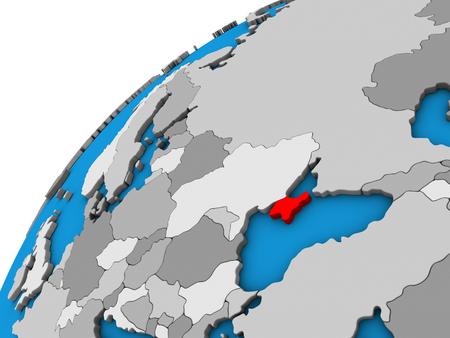 Crimea on 3D globe. 3D illustration.
