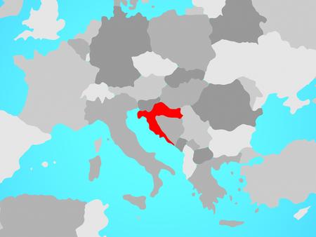Croatia on blue political globe. 3D illustration. Imagens