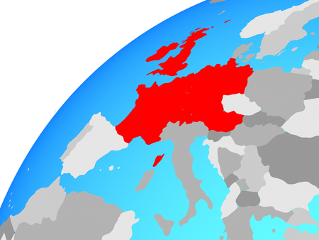 Western Europe on globe. 3D illustration.