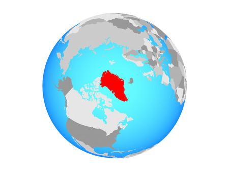 Greenland on blue political globe. 3D illustration isolated on white background. Stockfoto